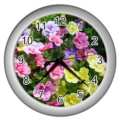 Lovely Flowers 17 Wall Clocks (silver)