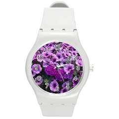 Wonderful Lilac Flower Mix Round Plastic Sport Watch (m) by MoreColorsinLife
