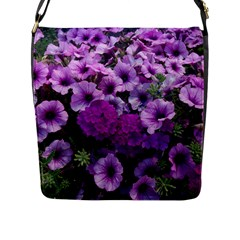 Wonderful Lilac Flower Mix Flap Messenger Bag (l)  by MoreColorsinLife