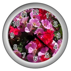 Wonderful Pink Flower Mix Wall Clocks (silver)