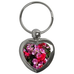 Wonderful Pink Flower Mix Key Chains (heart)