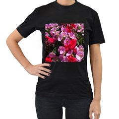 Wonderful Pink Flower Mix Women s T Shirt (black) (two Sided)