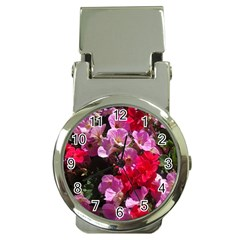 Wonderful Pink Flower Mix Money Clip Watches