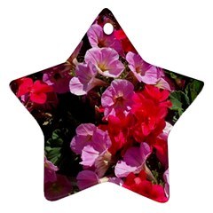 Wonderful Pink Flower Mix Star Ornament (two Sides)