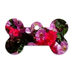 Wonderful Pink Flower Mix Dog Tag Bone (one Side)