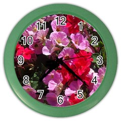 Wonderful Pink Flower Mix Color Wall Clocks
