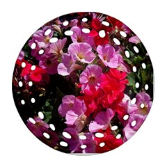Wonderful Pink Flower Mix Round Filigree Ornament (two Sides)