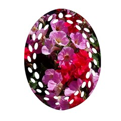 Wonderful Pink Flower Mix Oval Filigree Ornament (two Sides)