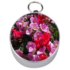 Wonderful Pink Flower Mix Silver Compasses