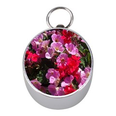 Wonderful Pink Flower Mix Mini Silver Compasses