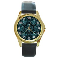 Damask1 Black Marble & Blue Green Water Round Gold Metal Watch by trendistuff