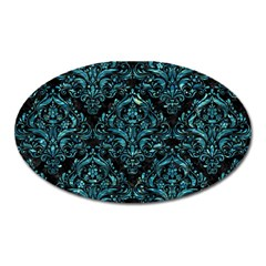 Damask1 Black Marble & Blue Green Water Magnet (oval)