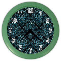 Damask1 Black Marble & Blue Green Water Color Wall Clock by trendistuff