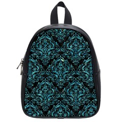 Damask1 Black Marble & Blue Green Water School Bag (small) by trendistuff