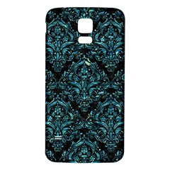 Damask1 Black Marble & Blue Green Water Samsung Galaxy S5 Back Case (white) by trendistuff