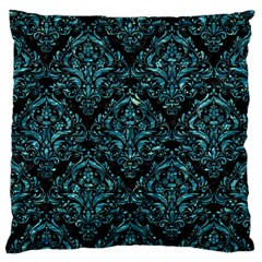 Damask1 Black Marble & Blue Green Water Large Flano Cushion Case (one Side) by trendistuff