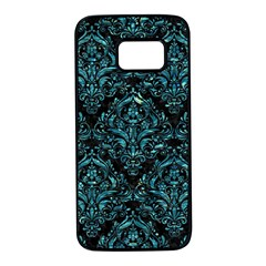 Damask1 Black Marble & Blue Green Water Samsung Galaxy S7 Black Seamless Case by trendistuff