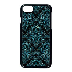 Damask1 Black Marble & Blue Green Water Apple Iphone 7 Seamless Case (black) by trendistuff