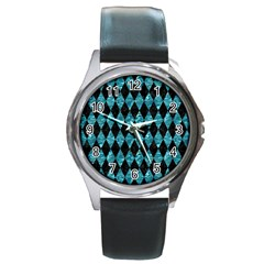 Diamond1 Black Marble & Blue Green Water Round Metal Watch by trendistuff