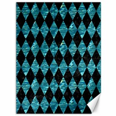 Diamond1 Black Marble & Blue Green Water Canvas 36  X 48  by trendistuff