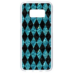 Diamond1 Black Marble & Blue Green Water Samsung Galaxy S8 White Seamless Case by trendistuff