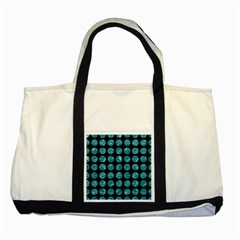 Circles1 Black Marble & Blue Green Water Two Tone Tote Bag by trendistuff