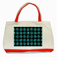 Circles1 Black Marble & Blue Green Water Classic Tote Bag (red) by trendistuff