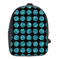 Circles1 Black Marble & Blue Green Water School Bag (large) by trendistuff