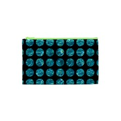 Circles1 Black Marble & Blue Green Water Cosmetic Bag (xs) by trendistuff
