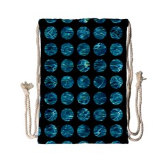 Circles1 Black Marble & Blue Green Water Drawstring Bag (small) by trendistuff