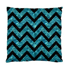 Chevron9 Black Marble & Blue Green Water (r) Standard Cushion Case (two Sides) by trendistuff