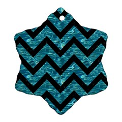 Chevron9 Black Marble & Blue Green Water (r) Ornament (snowflake) by trendistuff
