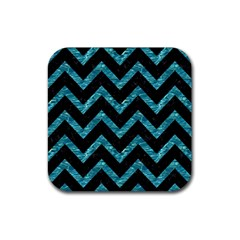 Chevron9 Black Marble & Blue Green Water Rubber Coaster (square) by trendistuff