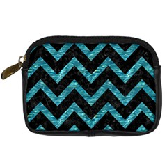 Chevron9 Black Marble & Blue Green Water Digital Camera Leather Case by trendistuff