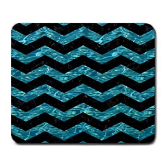 Chevron3 Black Marble & Blue Green Water Large Mousepad by trendistuff