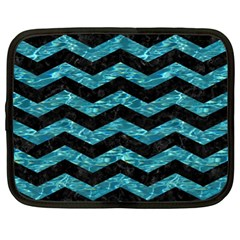 Chevron3 Black Marble & Blue Green Water Netbook Case (xl) by trendistuff