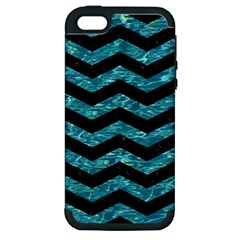 Chevron3 Black Marble & Blue Green Water Apple Iphone 5 Hardshell Case (pc+silicone) by trendistuff