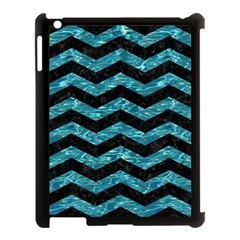 Chevron3 Black Marble & Blue Green Water Apple Ipad 3/4 Case (black) by trendistuff