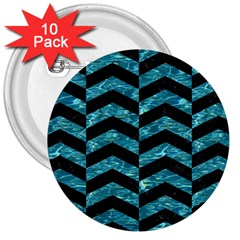 Chevron2 Black Marble & Blue Green Water 3  Button (10 Pack) by trendistuff