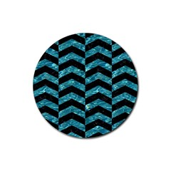 Chevron2 Black Marble & Blue Green Water Rubber Round Coaster (4 Pack) by trendistuff