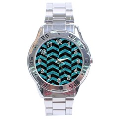 Chevron2 Black Marble & Blue Green Water Stainless Steel Analogue Watch by trendistuff