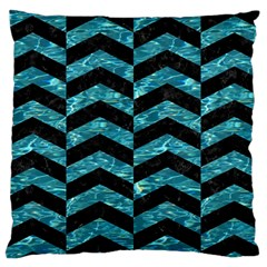Chevron2 Black Marble & Blue Green Water Large Cushion Case (one Side) by trendistuff