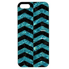 Chevron2 Black Marble & Blue Green Water Apple Iphone 5 Hardshell Case With Stand by trendistuff