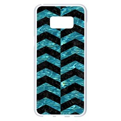 Chevron2 Black Marble & Blue Green Water Samsung Galaxy S8 Plus White Seamless Case