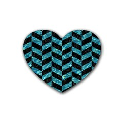 Chevron1 Black Marble & Blue Green Water Rubber Heart Coaster (4 Pack) by trendistuff