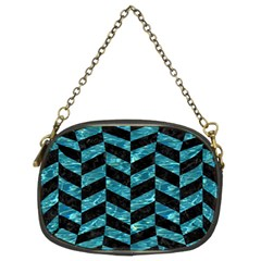 Chevron1 Black Marble & Blue Green Water Chain Purse (two Sides) by trendistuff