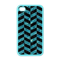Chevron1 Black Marble & Blue Green Water Apple Iphone 4 Case (color) by trendistuff