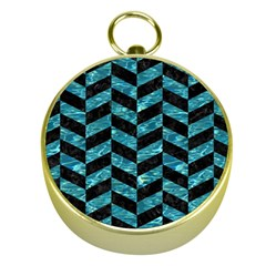Chevron1 Black Marble & Blue Green Water Gold Compass by trendistuff