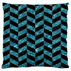 Chevron1 Black Marble & Blue Green Water Large Flano Cushion Case (one Side) by trendistuff