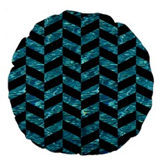 Chevron1 Black Marble & Blue Green Water Large 18  Premium Flano Round Cushion  by trendistuff
